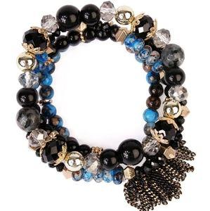 Riah Fashion Beaded Bracelet Set of 4 Black Gold